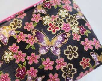 Cherry Blossom & Butterfly Cosmetic Purse / Zipper Pouch