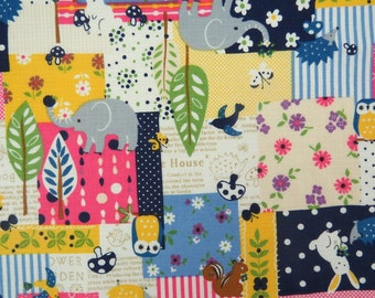 2549B - Sale - Woodland Patchwork Fabric in Navy Blue Color Combo , Elephant , Owl , Mushroom , Rabbit , Flower , Hedgehog , Deer , Tree