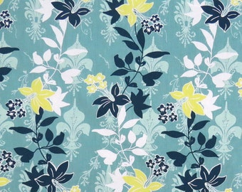 2556B - Flower Vine and Lilly Fabric in Lake Green, Flower Fabric, Floral Fabric, Lilly Crown Fabric