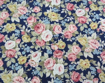 2601C -- Rose Floral Fabric in Navy , Navy Rose Fabric , Flower Fabric