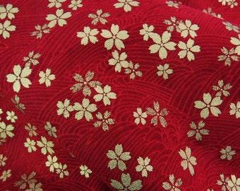 2610B - Gold Sakura Blossoms in Dark Red , Gold Print Flower Fabric , Japanese Kimono Style