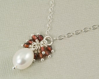 January birthstone necklace, white pearl necklace, garnet and pearl, garnet cluster necklace, garnet jewelry, bridesmaid gift