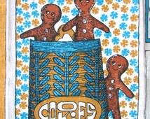 Vintage Tea Towel Gingerbread Man Cookie Recipe Gift for Cook