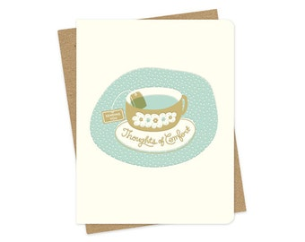 comfort tea letterpress card - comfort card - sympathy card - sending you thoughts of comfort - lp977