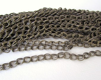 Vintage Chain Antiqued Brass Plated Steel Double Link 10x7mm chn0168 (1 foot)