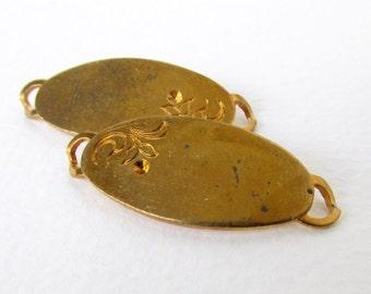 Vintage Brass ID Tag Stamping Bracelet Finding Connector Flower Oval Link 34mm vfd0267 (2)