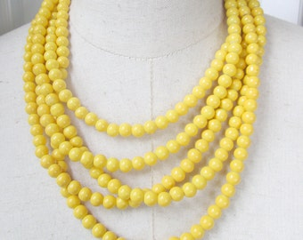 Bright Yellow Multi Strand Beaded Necklace Layered Adjustable