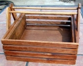 Wooden Pine Slatted Basket with Handles