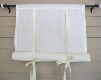 Ivory Cotton 60 Inch Long Window Shade Roll Up Swedish Blind Stagecoach Off White Tie Up Curtain