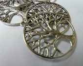 6 Large Silver Tree of Life Charms