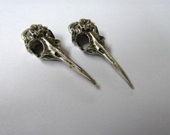 Silver Bird Skull Head Charm