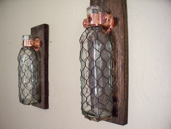 Wire Kitchen Wall Decor : Chicken wire covered glass bottles on rustic wood by snaksaks