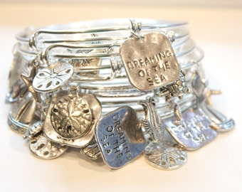 Silver Plated Wire Adjustable Bracelet, Ocean thyme sand dollar fish and Dreaming of the ocean charms