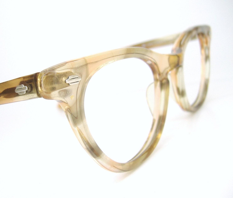 Vintage art craft marbled horn rim cat eye eyeglasses frame for Art craft eyeglasses vintage