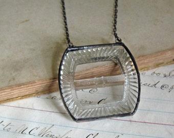 Vintage Glass Belt Buckle Necklace One of a Kind Bib Jewelry
