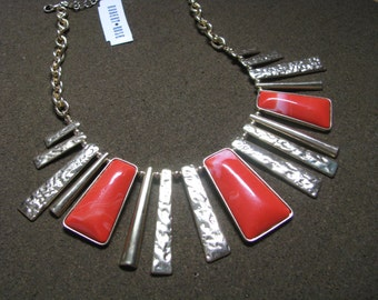 Dramatic bold orange & gold necklace by Robert Rose with tags