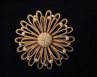 Vintage CAPRI Pearl Flower Brooch