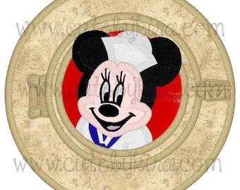 Ms. Mouse Porthole Applique Machine Embroidery Design (DIGITAL ITEM)