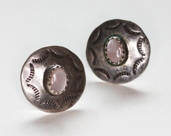 Sterling MOP Earrings NA Design Posts Vintage