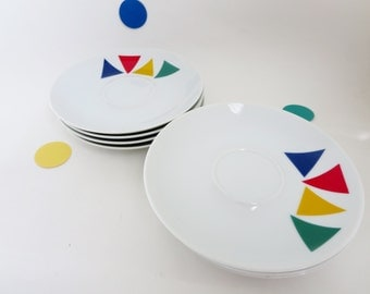 Mikasa Primary Points Saucers -  Set of Four 1980's Geometric Primary Colors Triangles pattern  K1107 made in Japan