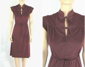 70s Vintage Burgundy Dress - Deep Neck Placket with Ties and Cap Sleeves - Extra Small to Small