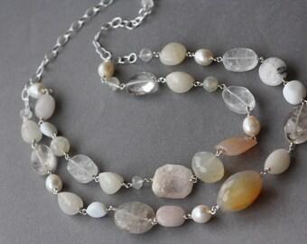 Quartz, Agate, White Jade, Clear Fluorite, White Pearls, Yoga, Spiritual, Birthday Gift for wife, Spring Trend, Unique Natural Stones