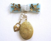 Bow and Charm Locket boutinnere pin corsage bouquet charm