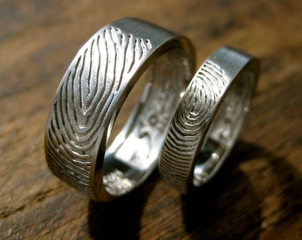 Palladium Wedding Rings with Finger Prints and Custom Logo Engraving and Matte Finish Sizes 9 & 6