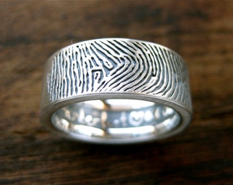 Finger Print Wedding Band in Sterling Silver with Flat Ring Profile Quote Engraving and Oxidized Finish Size 9