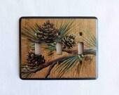 Triple Switch Plate/Wallplate    in Pine Cone Design