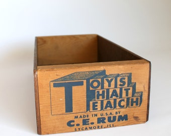 Vintage Small Toy Box Wood
