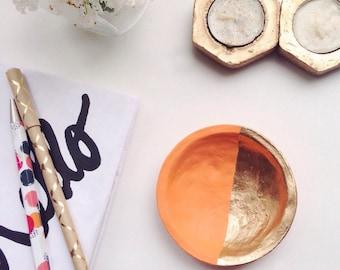 Tangerine and Gold Jewelry Dish/Orange and Gold Jewelry Dish/Orange and Gold Ring Dish