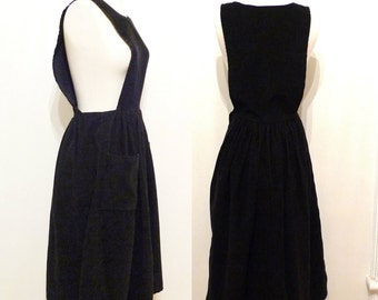 VTG 80s does 40s Black Corduroy Military Dirndl Jumper Dress with 2 Pockets. Reminiscence by Stewart Richer Romantic Boho Goth SALE Pinafore