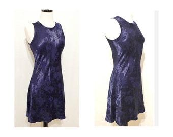 80s Blue Sleeveless Mini Dress Flirty Skater Slip On Dress KeyHole Back Fashion Boho Solid Navy with FLoral Jacquard Gothic Grunge Babydoll