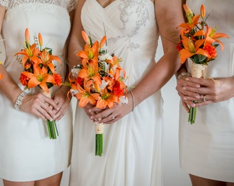 Destination Wedding Flowers artificial Orange Tiger Lily bouquet Made in Michigan bridal party acessories bridesmaid bokay cruise wedding