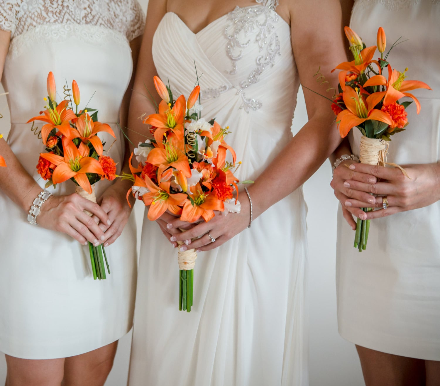 Lily Flower Wedding Bouquet: Destination Wedding Flowers Artificial Orange Tiger Lily