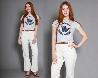 60s High Waist BELL BOTTOMS / 1960s WHITE Denim Wide Leg Sailor Style Jeans