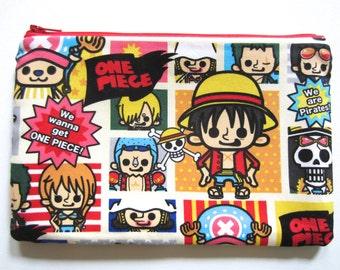 "Pencil/Cosmetics Case  - ""One Piece"" in cream white frame, Anime, Luffy, Nami, Chopper Zoro, Sanji, Franky, Robin, Usopp, Brook, pirate"