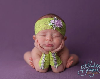 Newborn photography, newborn headband and lace arm cuffs