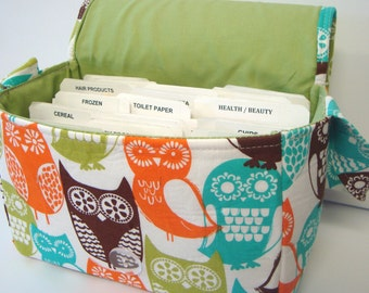 Super Size Coupon Organizer Bag Holder - Attaches to Your Cart- Cocoa Berry Swedish Owl