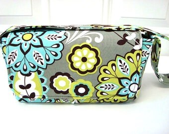 Medium Size Coupon Organizer Holder - Attaches to your shopping cart - Lime Floral