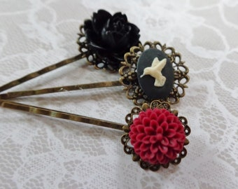 Set of 3, Black And CranberryFloral And Hummingbird Hair Clips