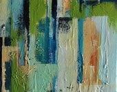 "Original Abstract Painting Cityscape Modern Urban Art Acrylic Painting Aqua Green Lime Peach 27x12"""