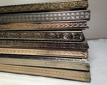Vintage GOLD PICTURE FRAME Collection of 10 Metal 5x7, Mid Century 50s Medium Size Wedding Table Numbers