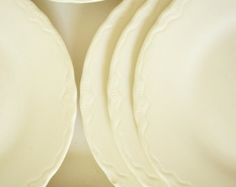 Six Antique Dessert Plates . Small Plates . Scalloped Edge . White Ivory .  Dainty Edge