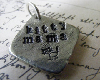 Hand Stamped Pendant, Kitty Mama, Cat Lover Necklace, Pewter Jewelry, Silver, Black Leather Choker Necklace, Personalized Pendant, Cat Stamp
