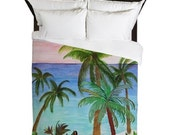 Aqua Beach Duvet Cover available in twin, queen and king sizes