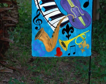 Jazz  Music yard flag from my art.  Available in 2 sizes