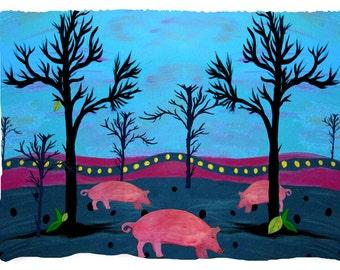 Pig Farm Beach, Bath or Hand Towel from my art