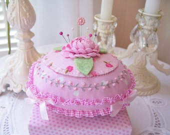 Sweet Shabby Pincushion....Rick Rack Rose....Hand Embroidered Rosebuds...Pink...Pins Included